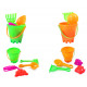 Sand toys 5pcs 2-way assorted - bucket ca 7cm