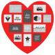 pele-mele mdf 13ph piros szív, piros