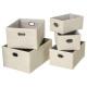 x5 paper basket + linen handle, beige