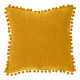 coussin pompons ocre 40x40, ocre