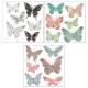 sticker relief papillon x6, 3-fois assorti, multic