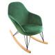 rocking chair en velours ewan ced, vert moyen