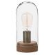 lampe dome verre + liege h27, transparent