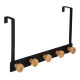 patere bamboo 5 heads black, black