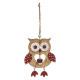 christmas decoration wood owl openwork bell, 2-fai