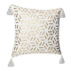 housse cous geom gold bl 40x40, blanc