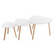 white mileo coffee table x3, white