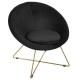 velvet armchair black p gold evan, black