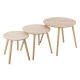 coffee table mileo round wood x3, beige