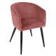 fauteuil diner en velours blush marlo, rose