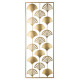 deco murale metal feuilles 30x80, or