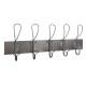 patere metal 5 hooks, medium gray