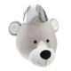 Corona de oso de peluche trofeo, gris
