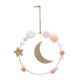 moon wall decor + pompons, multicolored
