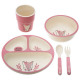 lunch set compart. 5 pcs pink, pink