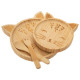 set repas bambou 4 pcs chat, beige moyen