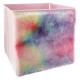 fur storage bin, multicolored
