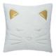 Pillow fake fur cat, white