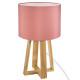 lampara pie madera rosa h35, rosa claro