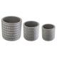 gray 3d x3 pots set, light gray