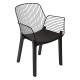 draad fauteuil zwart hout alby, zwart