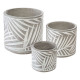 set x3 leaf cement pots, gray