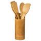 utensil x4 + bamboo pot, colorless