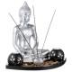 Kerzenhalter + Buddha s / gm Tablett, mehrfarbig