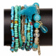 8-strand fashion bracelet, turquoise blue