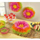 Pendant pom pom decoration Hibiscus Flower 3pcs