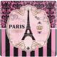 Paris, Paris Paper plate with 8 pcs 17.8 cm