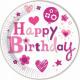 Happy Birthday Girl Paper Plate 8-delig 23 cm