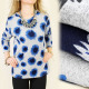 C1180 WARM BLOUSE, TUNIC, PATTERN WITH SUNFLOWERS