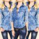 Camicetta BI623, Camicia Jeans, Motivo a stelle
