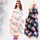 C17554 Long Plus Size Dress, Colorful Flowers