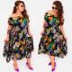 C17703 Frauen Asymmetrisches Kleid, Sommerblumen