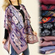 FL256 PATTERNED poncho, cape, TRENDY FEATHERS