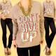 A815 Dames katoenen sweater, print Geef niet op