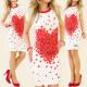 K103 SUMMER DRESS, lleno de corazones, MEZCLA BLAN