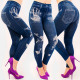 4709 Jeans leggins femme, grands imprimés, taille