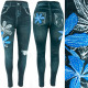 Leggins, Women Jeans with Jets, Flowers, UNI