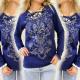 K151 Modisches, warmes Sweatshirt mit ornamentalem