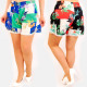 C17604 Summer Shorts, Loose Fit, Flowers And Lace