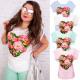 H113 Katoenen blouse, top, dameshemd, hart en roos