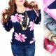 C11463 Losse blouse, tuniek, oversize, bloemen