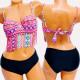 4620 Women Swimsuit, Pastel Pattern, Fringes