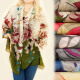 C17324 Wide and Long Scarf, Shawl, Autumn Flowers