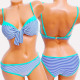 4622 Women Swimsuit, Striped & Turquoise