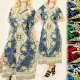 FL471 Showy Long Dress, Travel East Style, V Neck