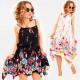 C17667 Frauenkleid, Zierband, Floral